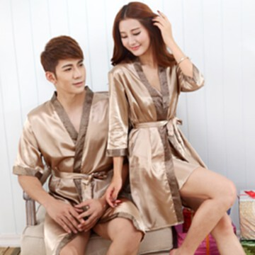 夏季絲綢情侶睡袍性感絲質短袖真絲薄款浴袍浴衣男女士睡衣家居服