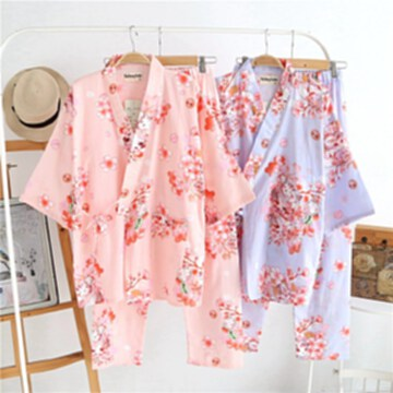 春夏季日系女士櫻花和服睡衣棉紗布汗蒸服薄款家居服浴衣
