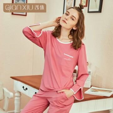 廠家直銷女士秋季新品竹纖維睡衣 女款長袖長褲可外穿簡約兩件套