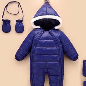 嬰幼兒童連體服 爬爬服加厚保暖外套 男女童冬季棉衣帶保暖手套腳